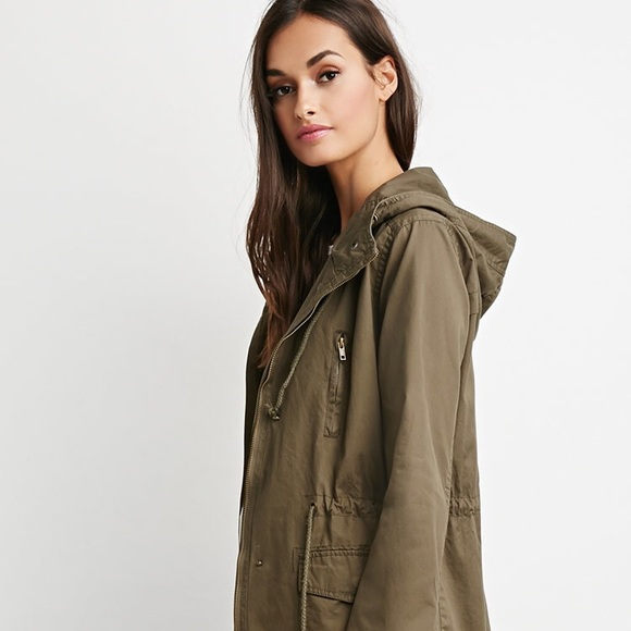 0f2171c4a Forever21 Green Hooded, Drawstring Utility Jacket